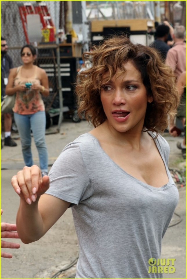 Jennifer Lopez Greets A Young Fan On The Set Of 'Shades of Blue'
