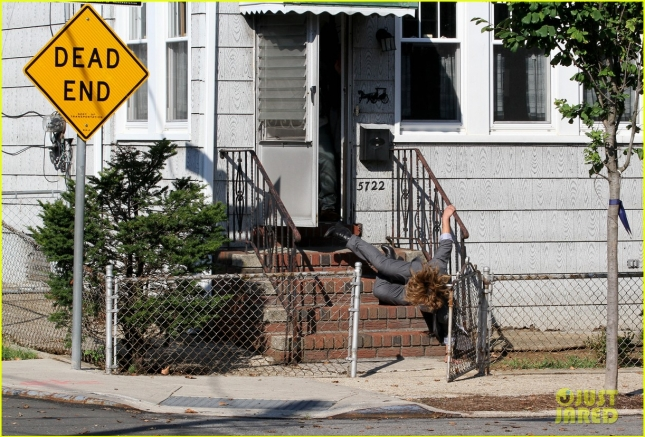 Jennifer Lopez takes a tumble on the set of 'Shades of Blue' **USA ONLY**