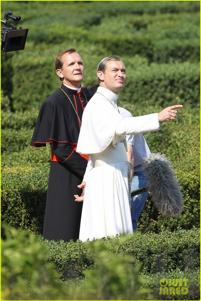 Jude Law and Sebastian Roche on-set of The Young Pope in Rome **USA ONLY**