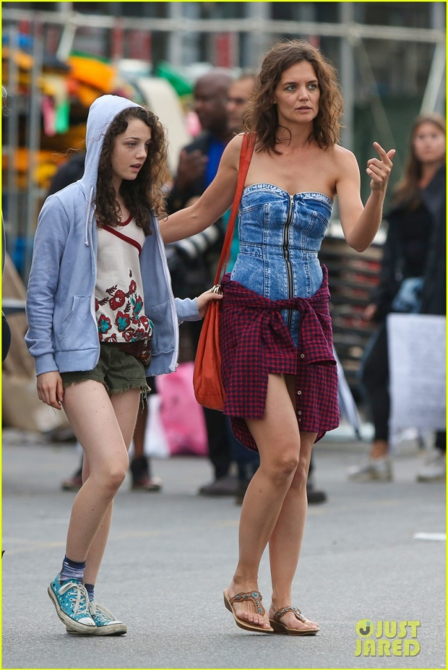 Katie Holmes rocks a short denim dress for 'All We Had' Walmart scene