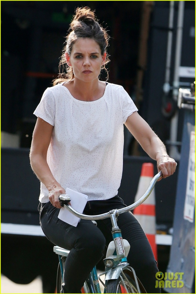 *EXCLUSIVE* Katie Holmes rides a vintage bicycle on 'All We Had' set
