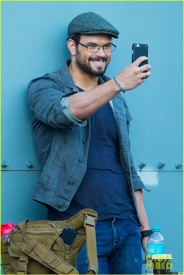 *EXCLUSIVE* Kellan Lutz takes a selfie on the set of SFv1 **USA ONLY**