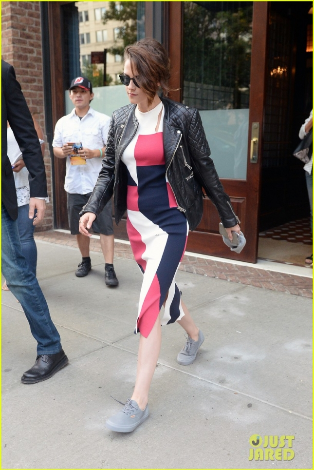 Kristen Stewart Wears A Colorful Dress In NYC