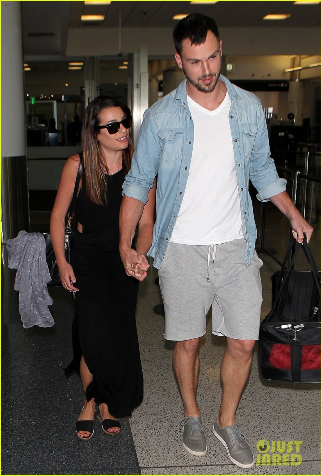 Lea Michele and Matthew Paetz arrive in Los Angeles at LAX **USA ONLY**