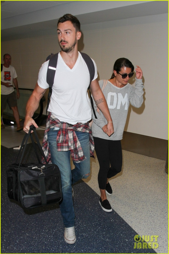 Lea Michele and Matthew Paetz go hand in hand at LAX