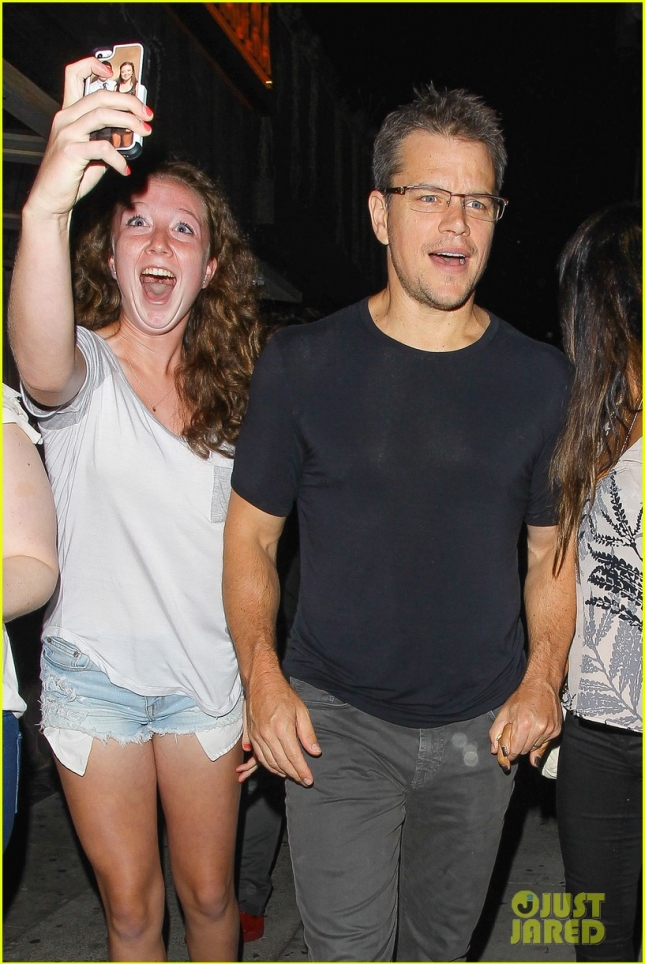 Matt Damon ends a dinner date with his wife Luciana Barroso **NO Australia, New Zealand**