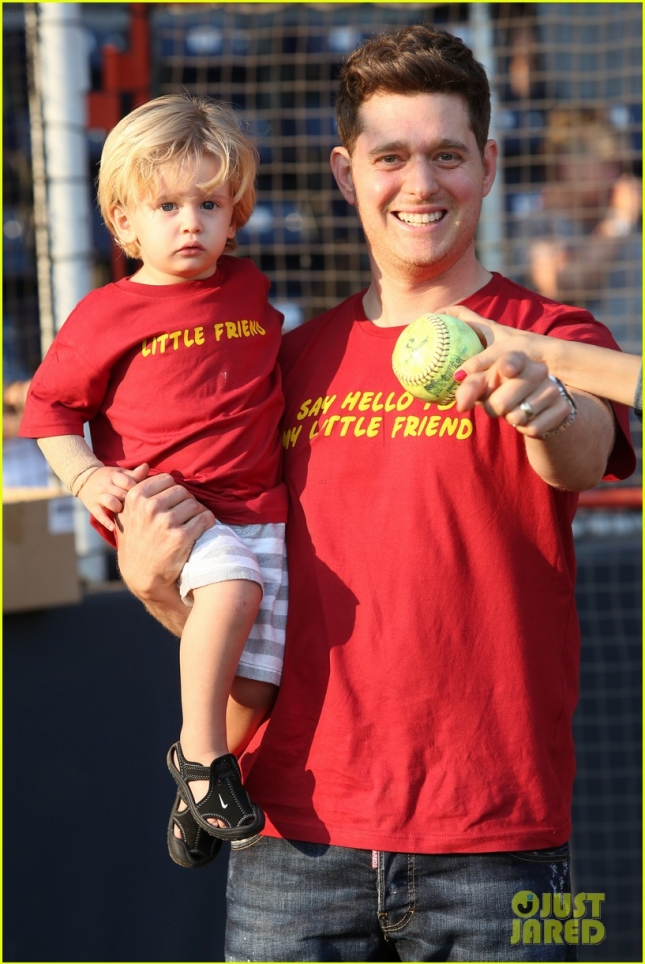 *EXCLUSIVE* Michael Buble and family attend Shriners Charity Baseball Game