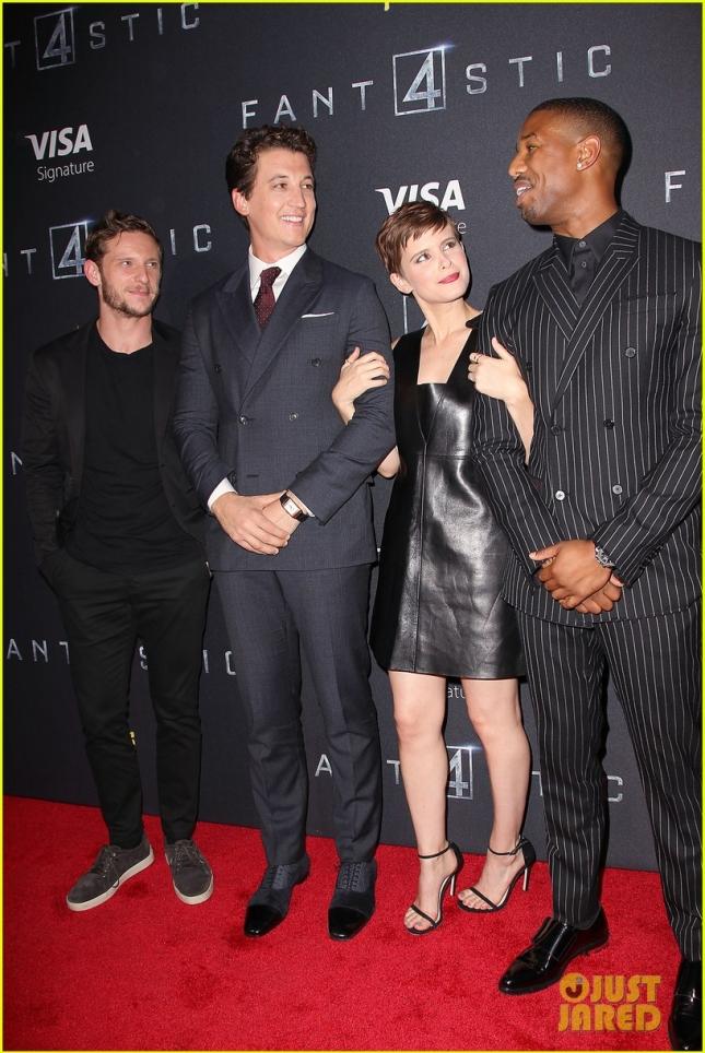 "Джейми Белл, Майлз Теллер, Кейт Мара и Майкл Б. Джордан на премьере фильма ""Фантастическая четвёрка"""