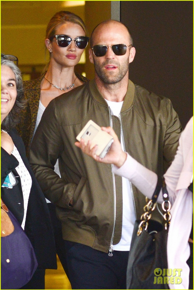 *EXCLUSIVE* Jason Statham and Rosie Huntington-Whiteley touch down in Miami **USA ONLY**