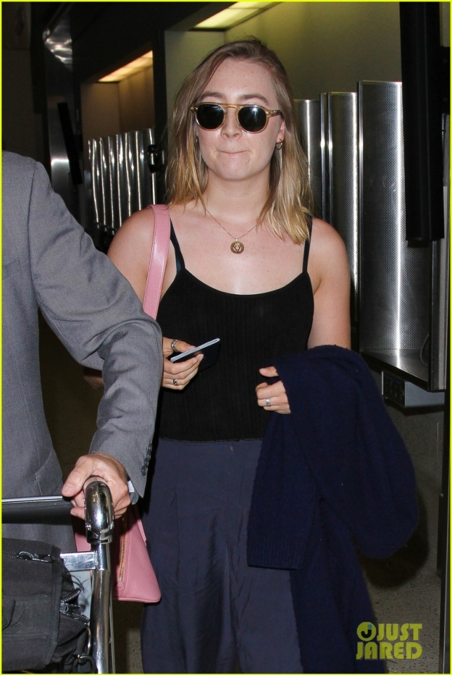 Saoirse Ronan arrives for a flight out from LAX