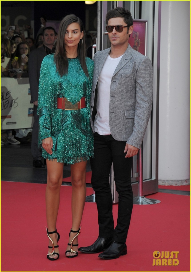 Emily Ratajkowski and Zac Efron at the French premiere of 'We Are Your Friends' **USA ONLY**