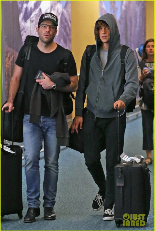 *EXCLUSIVE* Zachary Quinto and Miles McMillan late night arrival into Vancouver