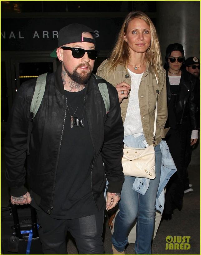Cameron Diaz & Benji Madden Land At LAX Airport