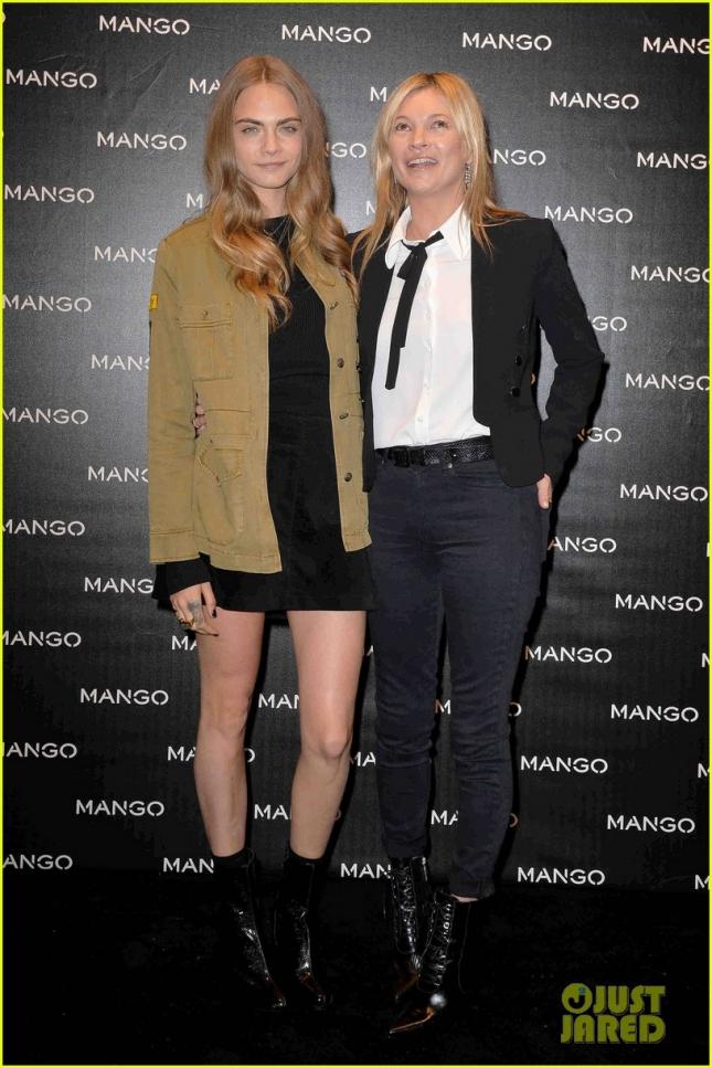 Кара Делевинь и Кейт Мосс, как лица бренда Mango, побывали на открытии нового магазинчика марки в Милане