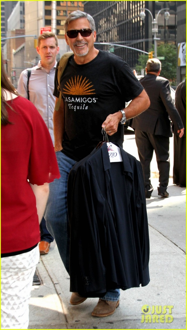 "George Clooney arrives at the ""Late Show with Stephen Colbert"" with a smile **USA ONLY**"