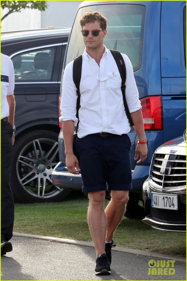 EXCLUSIVE: Jamie Dornan arrives to witness D+D REAL Czech Masters 2015 in Prague