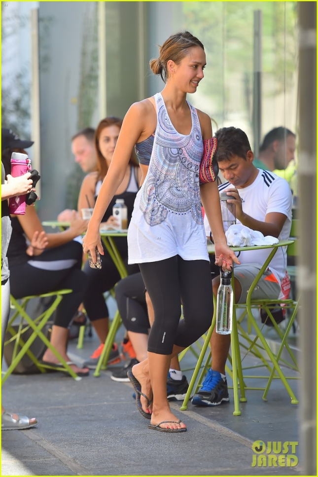 Jessica Alba is all smiles after an early morning spinning class in west hollywood