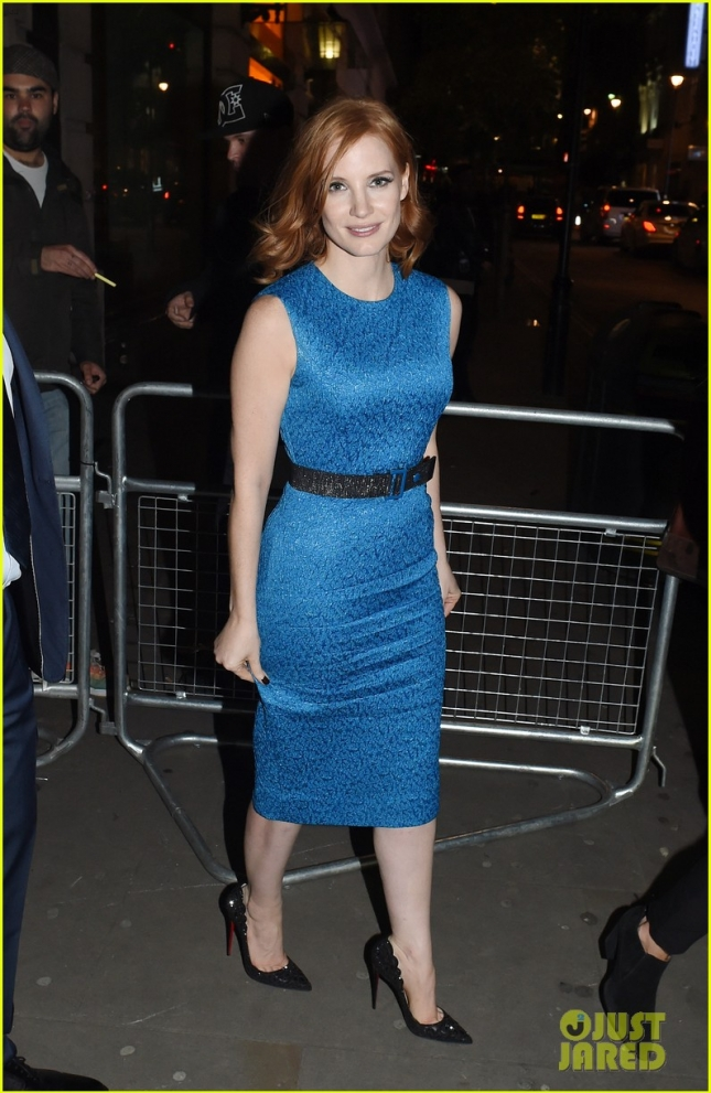 Jessica Chastain Leaving 'The Martian' UK Premiere Afterparty in Blue Belted Dress
