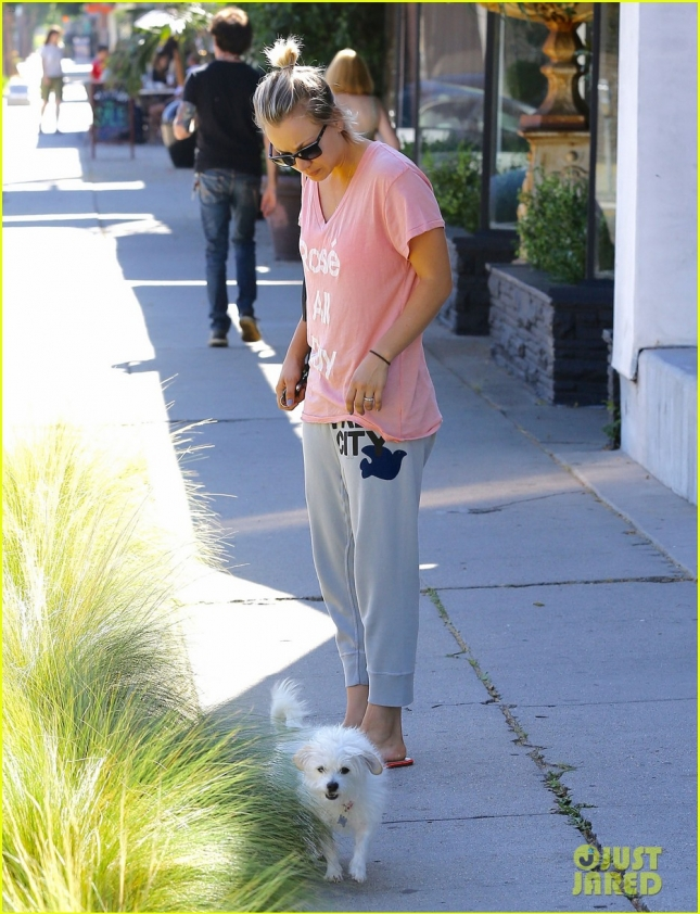 Exclusive... Kaley Cuoco Takes Her Dog For A Walk