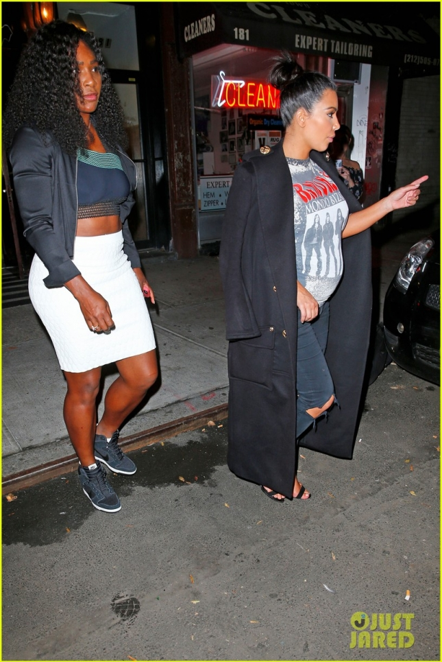 Kim Kardashian and Serena Williams exit Carbone restaurant in New York City