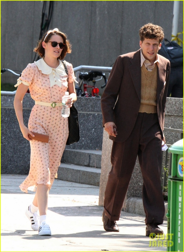 "Kristen Stewart and Jesse Eisenberg at the ""Untitled Woody Allen Project"" set in NYC"