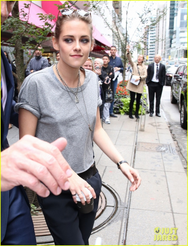 Kristen Stewart arrives at Holt Renfrew to promote her upcoming movie 'Equals' during the Toronto International Film Festival