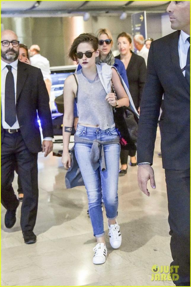 Kristen Stewart arrives at Venice Airport for Film Festival