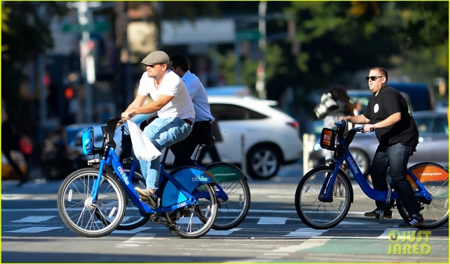 Leonardo DiCaprio and Jonah Hill are seen biking on city bikes in NYC