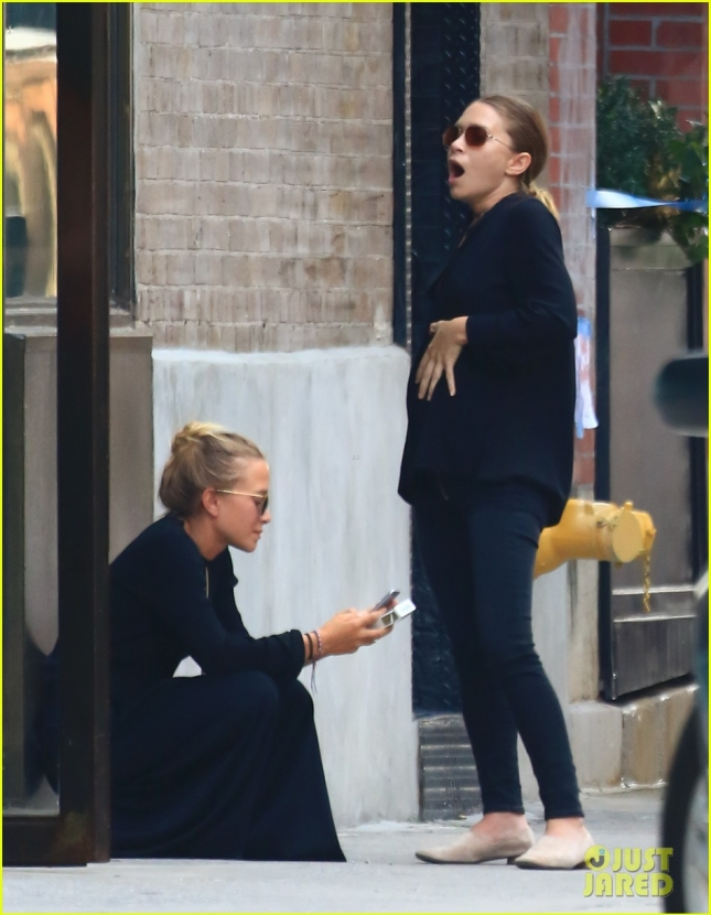 Ashley and Mary-Kate Olsen are seen in the West Village, NYC. Mary Kate was seen holding her belly.