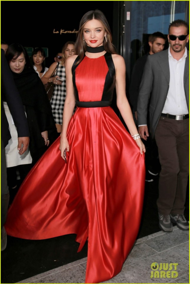 Miranda Kerr is looking amazing in a red and black gown in Italy - Part 2 **USA ONLY**