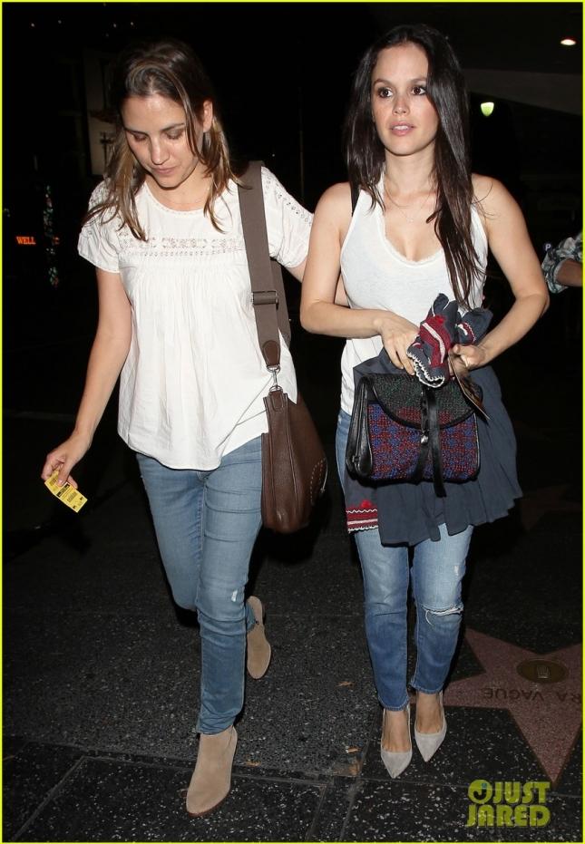Rachel Bilson and a friend leave Ricardo Montalban Theatre
