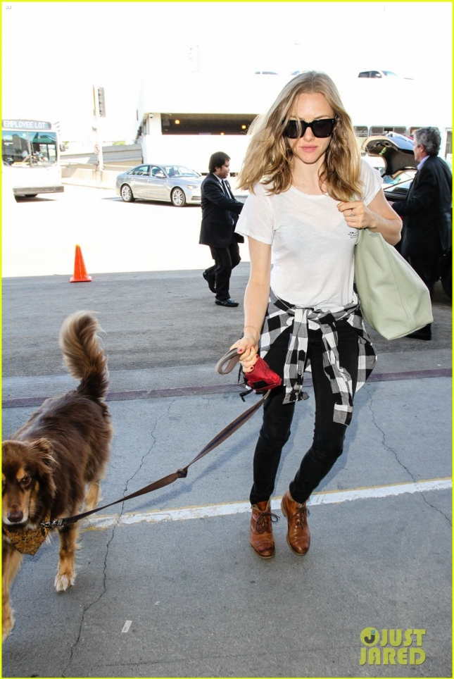 Amanda Seyfried & Dog Finn At LAX