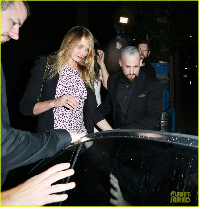 Cameron Diaz falls to the floor And Benji Madden shows off a new Head Tattoo as they leave the Nice Guy Club