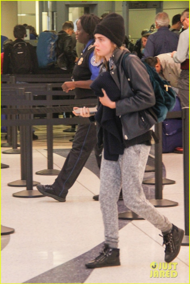 *EXCLUSIVE* Cara Delevingne departs from LAX