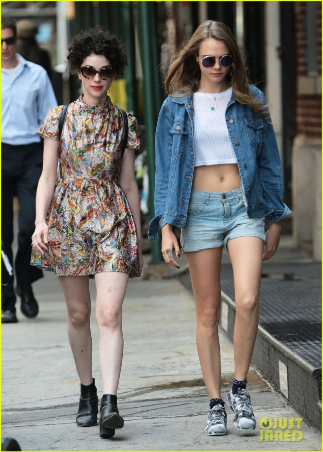Annie Clark & Cara Delevingne Out For A Stroll In NYC
