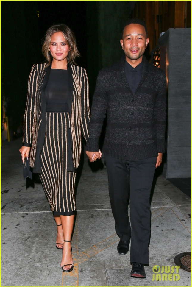 Chrissy Teigen and John Legend hold hands after a romantic sushi dinner date