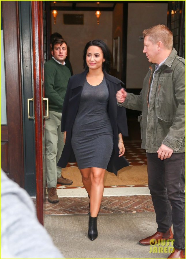 Demi Lovato Heads To 'SNL' In A Slimming Grey Dress