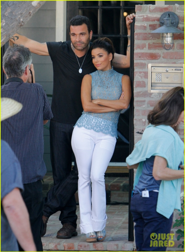Eva Longoria reunites with Ricardo Chavira to film scenes for the new show 'Hot and Bothered' in Los Angeles.