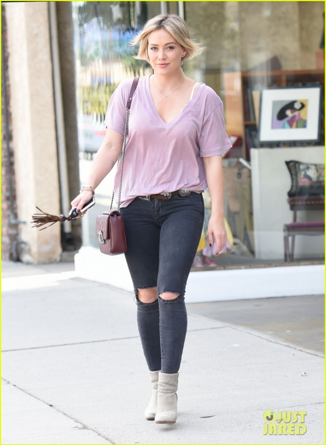 Hilary Duff looks happy and radiant on a Saturday morning shopping trip