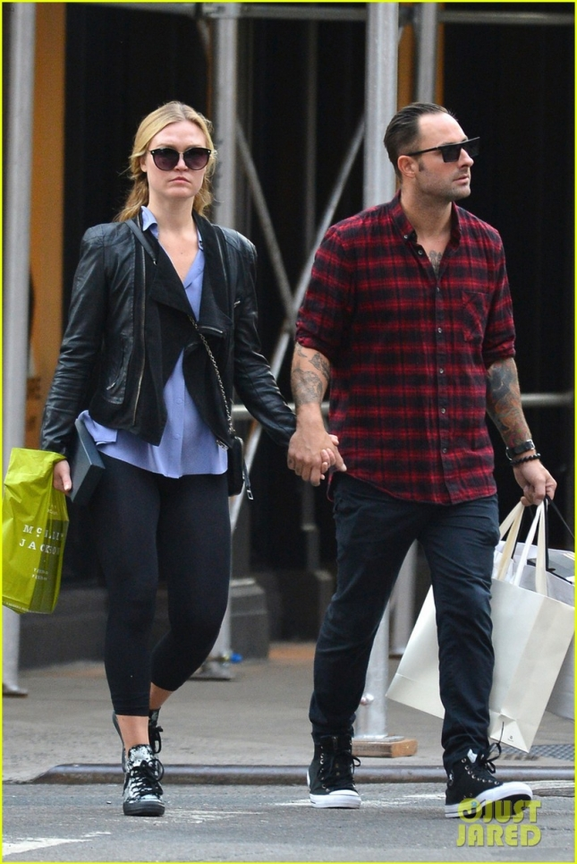 XCLUSIVE: Julia Stiles holds hands with her boyfriend as they go out and about in Soho, NYC