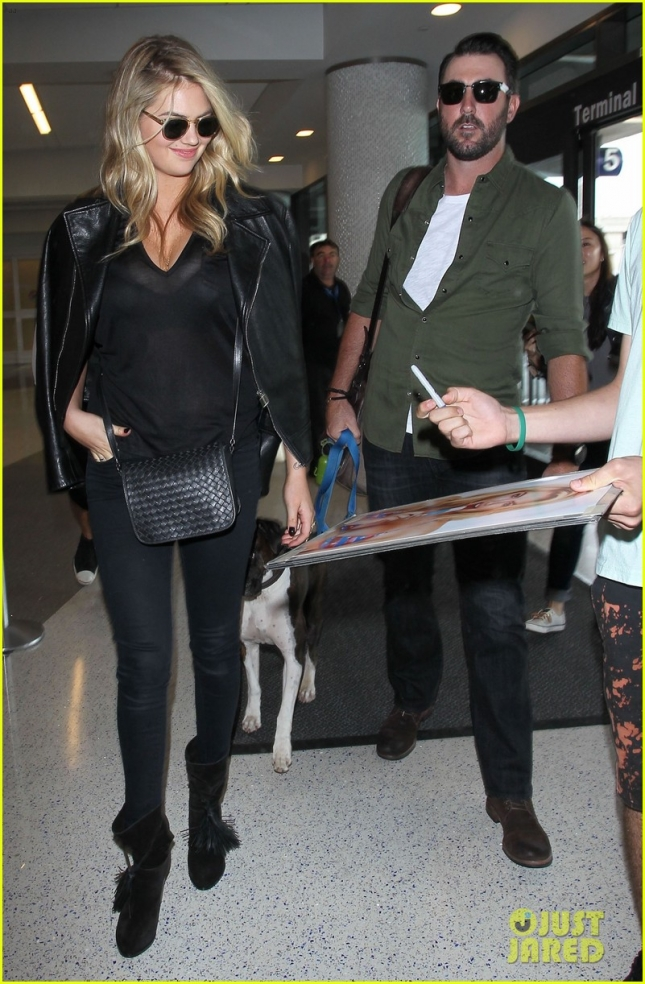 Kate Upton & Justin Verlander Departing On A Flight At LAX