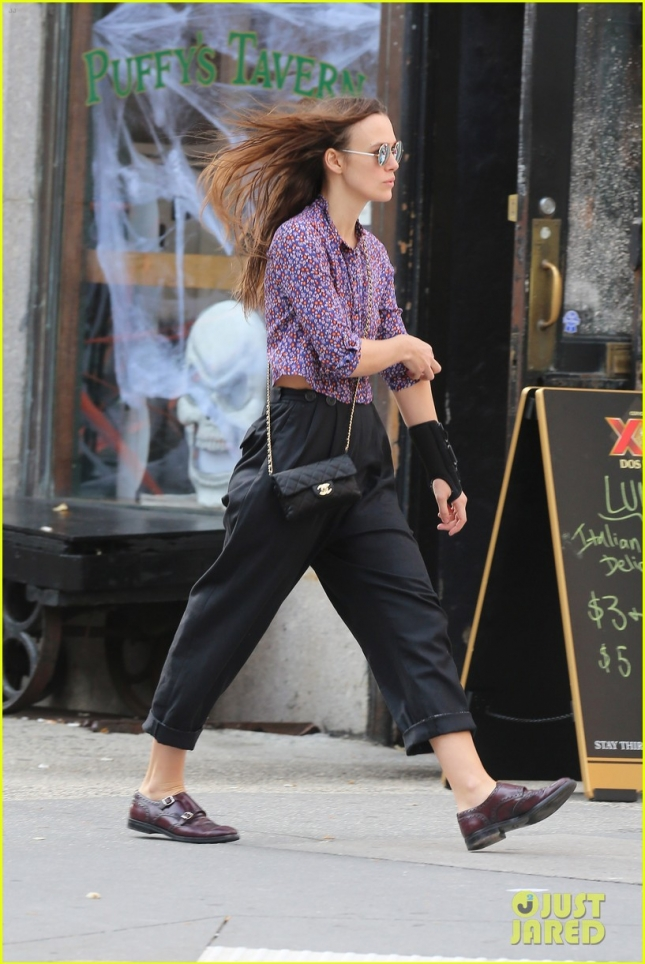 Keira Knightly in Brace as she walks with husband James Righton in Tribeca