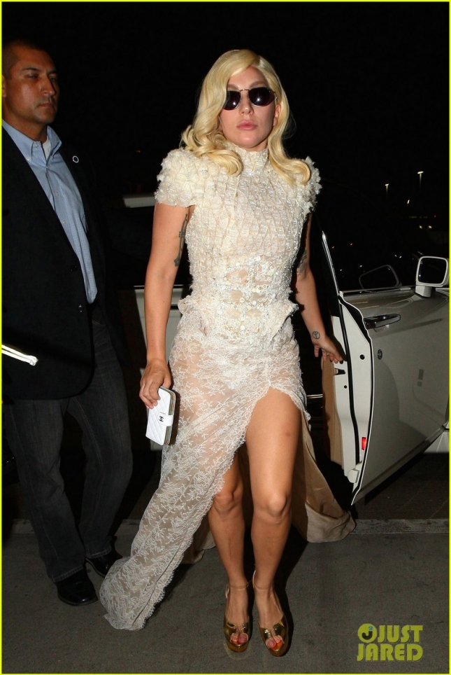 Lady Gaga nearly takes a tumble as she departs LAX