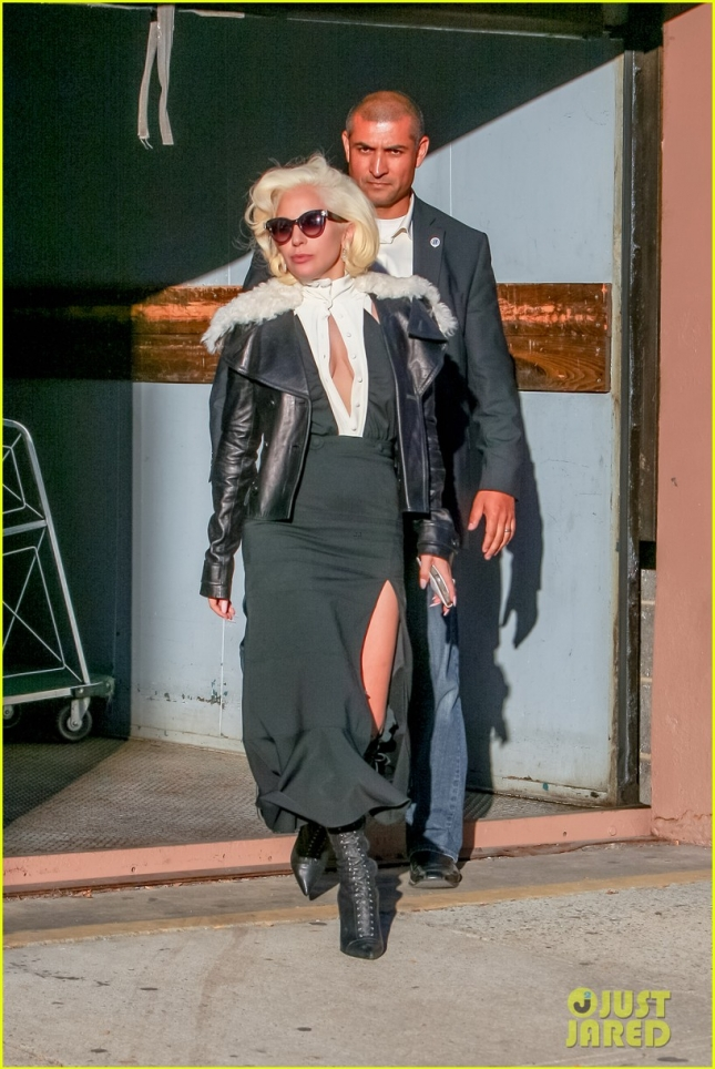 Lady Gaga Flases Her Leg in Thigh High Side Split Skirt