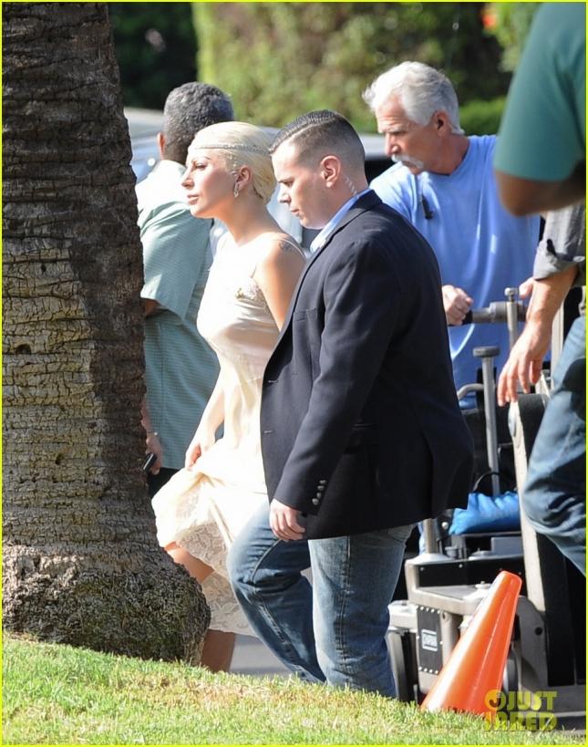 "Lady Gaga filming ""American Horror Story"""