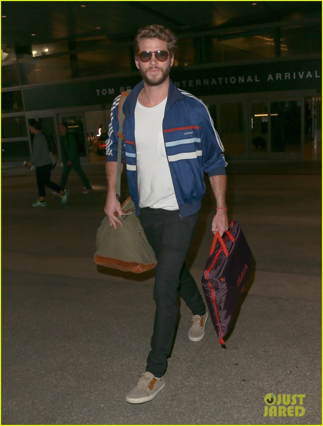 Exclusive... Liam Hemsworth Arrives On A Flight At LAX