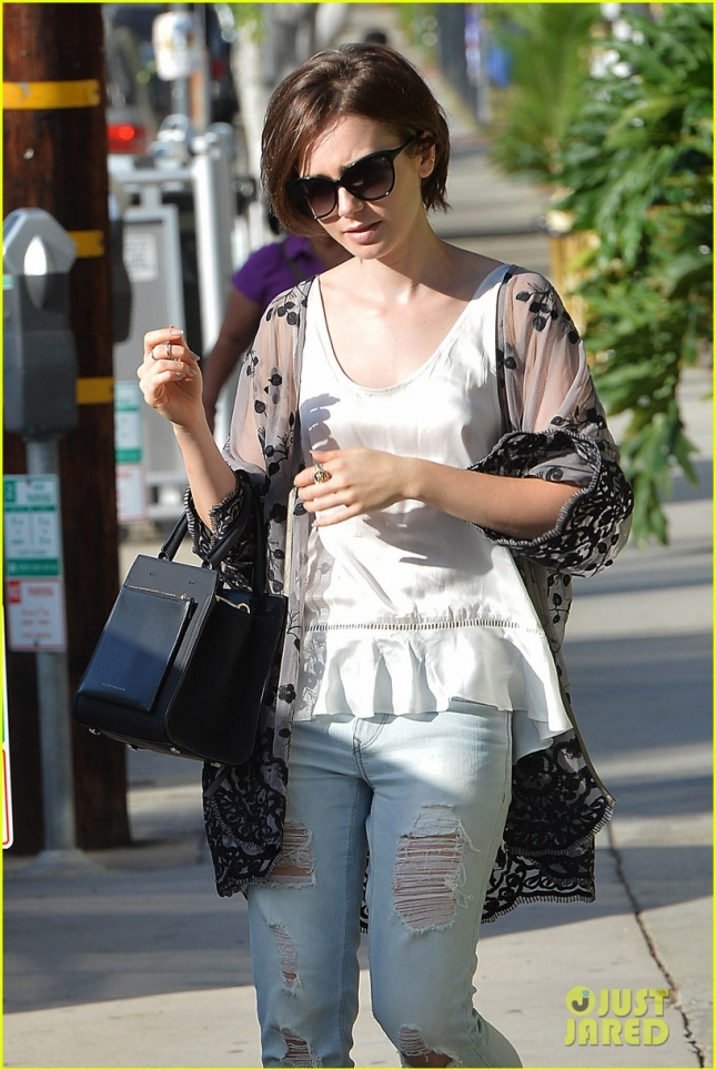 Lily Collins Leaves an Office in West Hollywood