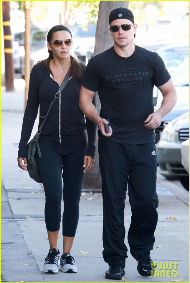 Matt Damon and his wife Luciana leaving the gym
