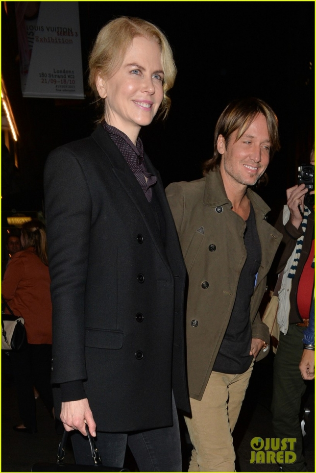 Nicole Kidman and husband Keith Urban seen leaving a theater in London