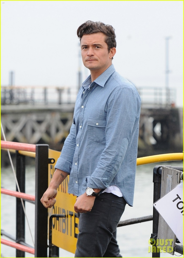 Orlando Bloom seen filming on Southend Pier with Jamie Oliver